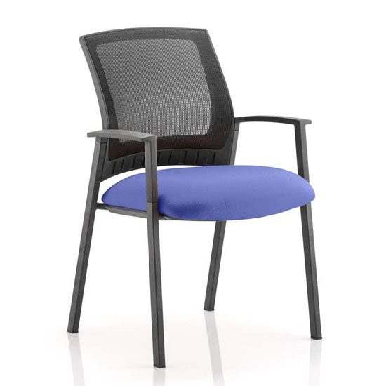 Metro Black Back Office Visitor Chair With Stevia Blue Seat