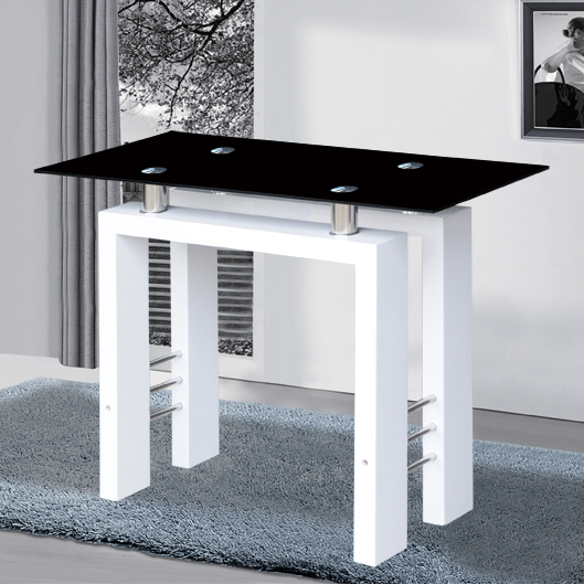 Kontrast console table in black glass with white high gloss for White and glass console table
