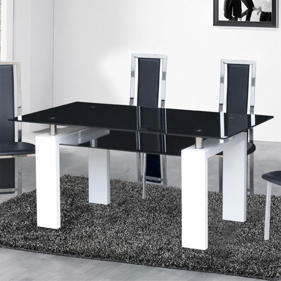 Kontrast Dining Table In Black Glass With White Gloss Legs Part 89
