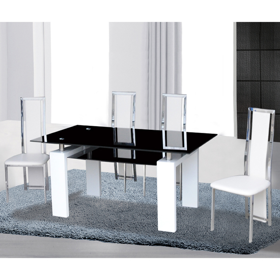 Kontrast Black Glass Dining Set In White Gloss With 4 Chairs