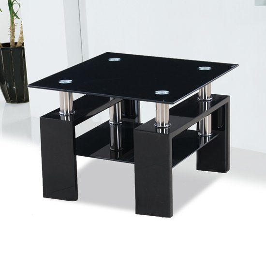 Kontrast black glass side table with high gloss legs 18205 for Black and white glass coffee table