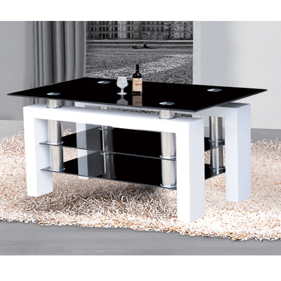 Kontrast Large TV Stand In Black Glass And High Gloss White Legs