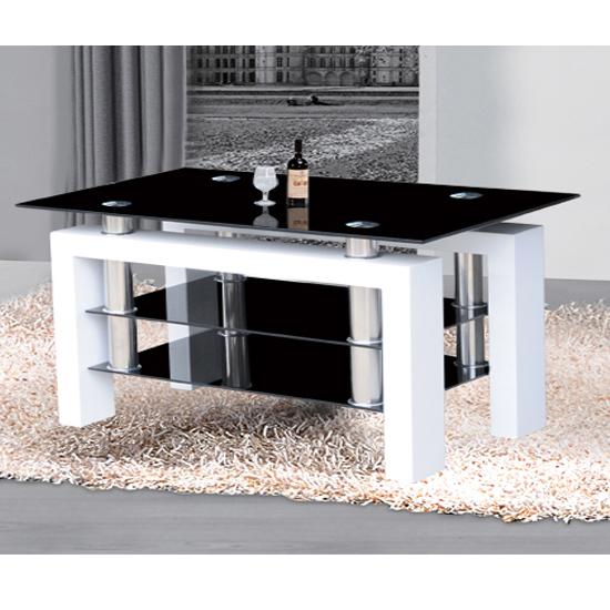 High Gloss Black Glass White Legs Designer Rectangle: Metro Black Glass Large TV Stand In High Gloss White 17822