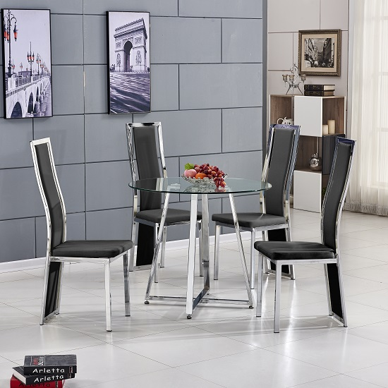 Melito Glass Dining Table Round With 4 Collete Black Chairs