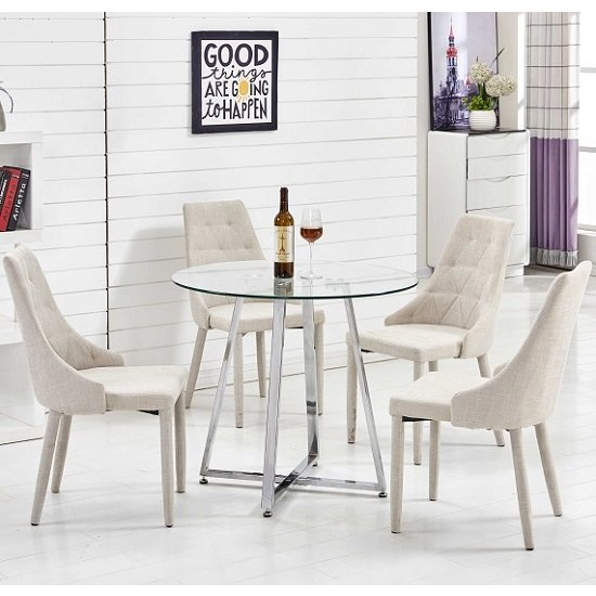 Melito Glass Dining Table Round With 4 Wilkinson Beige