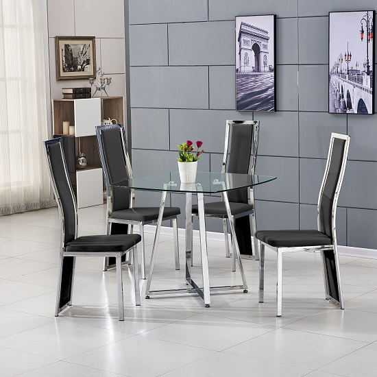 Melito Glass Dining Table Square With 4 Collete Black Chairs