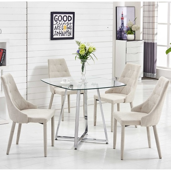 Melito Glass Dining Table Square With 4 Wilkinson Beige Chairs