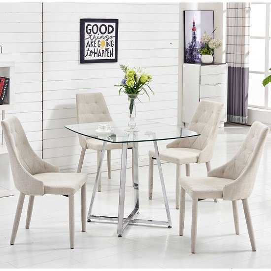 Melito Glass Dining Table Square 4 Wilkinson Beige Chairs