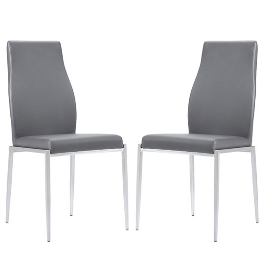 Mexa Grey Faux Leather High Back Dining Chairs In Pair