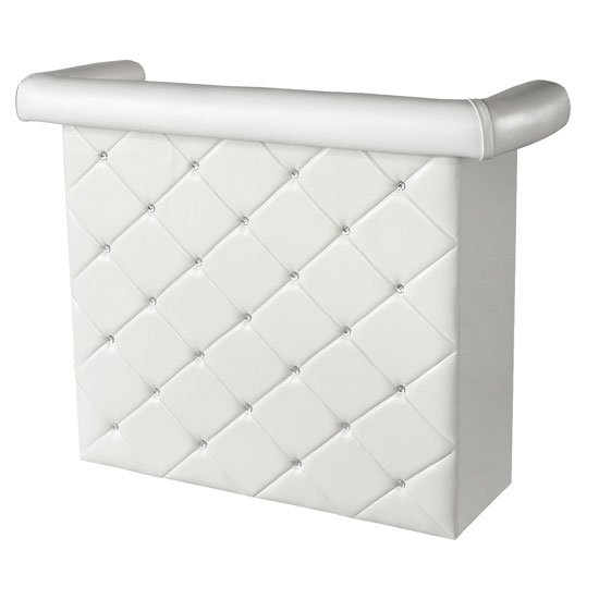 Diamond Bar Unit In White Faux Leather With Diamanté