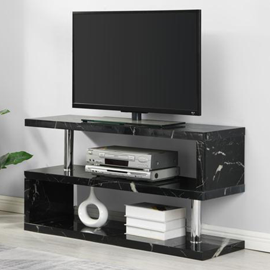 Miami Contemporary TV Stand In Black Gloss Milano Effect