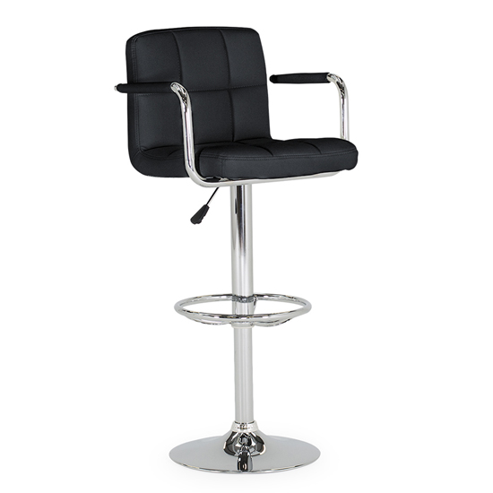 Miami Faux Leather Gas Lift Bar Stool In Black
