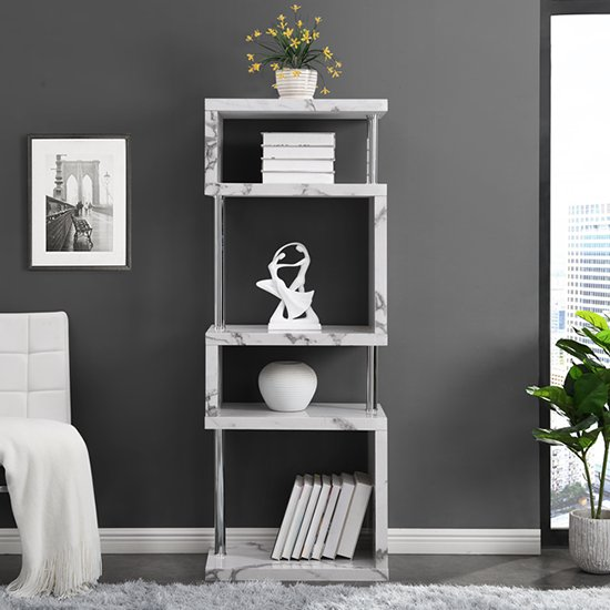 Miami High Gloss White Shelving Unit In Diva Marble Effect_2