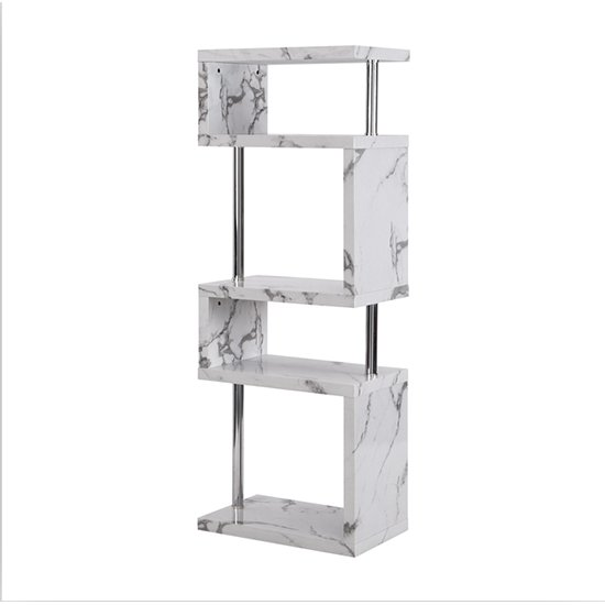 Miami High Gloss White Shelving Unit In Diva Marble Effect_3