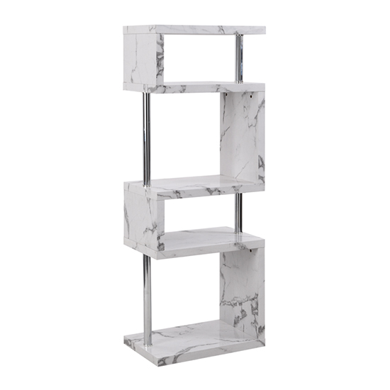 Miami High Gloss White Shelving Unit In Diva Marble Effect_4