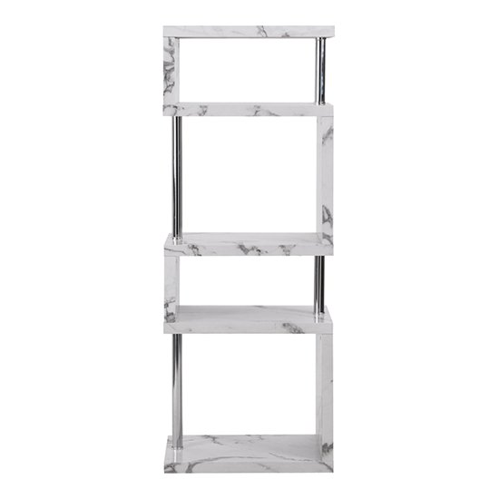 Miami High Gloss White Shelving Unit In Diva Marble Effect_6