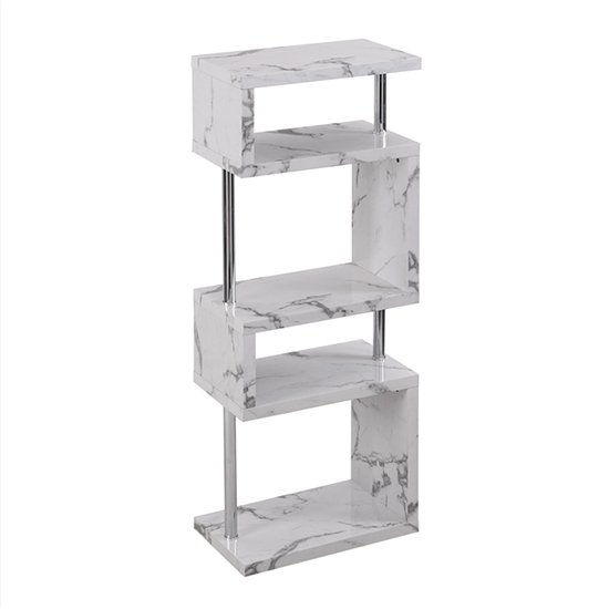 Miami High Gloss White Shelving Unit In Diva Marble Effect_7