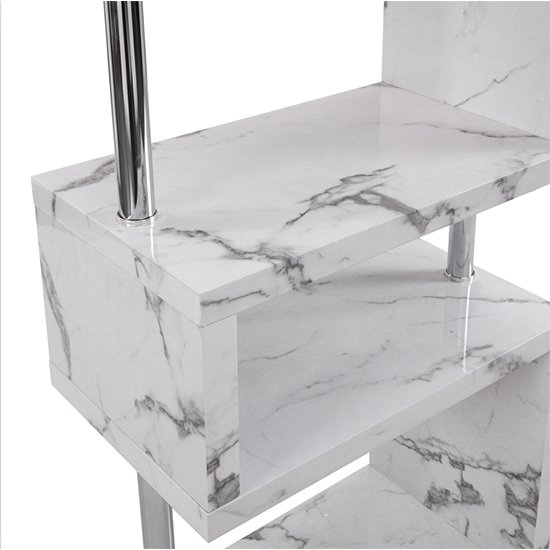 Miami High Gloss White Shelving Unit In Diva Marble Effect_8