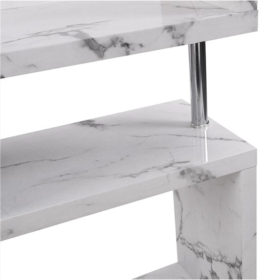 Miami High Gloss White Shelving Unit In Diva Marble Effect_9