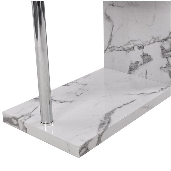 Miami High Gloss White Shelving Unit In Diva Marble Effect_10