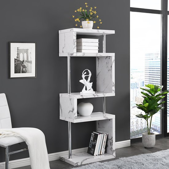 Miami High Gloss White Shelving Unit In Diva Marble Effect_1