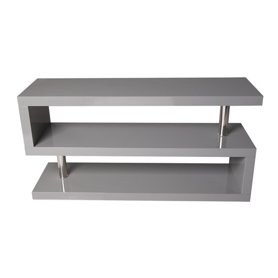 Miami TV Stand Shelving In High Gloss Grey_2