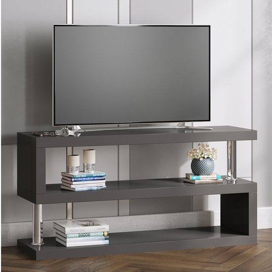 Miami TV Stand Shelving In High Gloss Grey_1