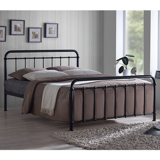 Miami Victorian Style Metal Small Double Bed In Black