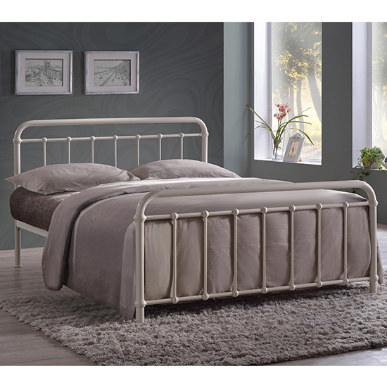 Miami Victorian Style Metal Small Double Bed In Ivory