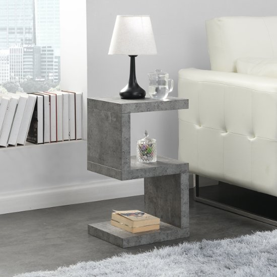 Miami Wooden S Shape Side Table In Concrete Effect