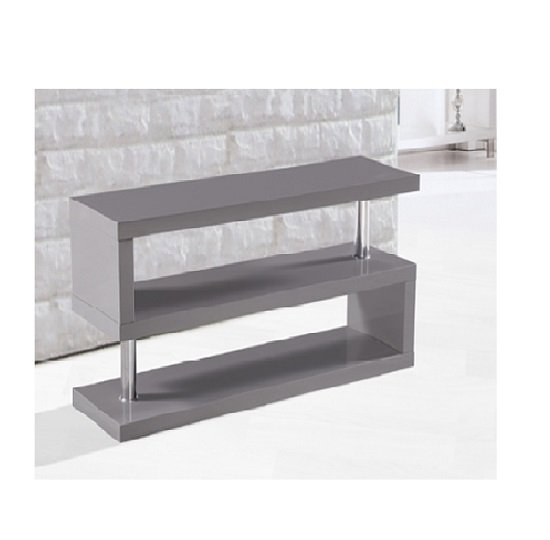 Miami TV Stand Shelving In High Gloss Grey