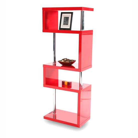Miami Slim High Gloss Shelving Unit Red