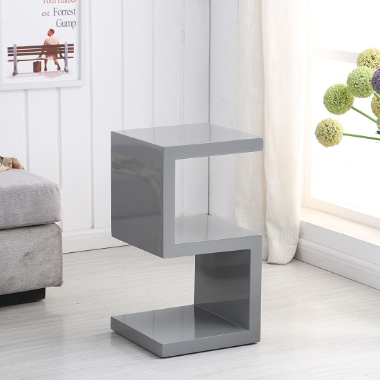 Miami Side Table In Grey High Gloss With S Shape Design_2
