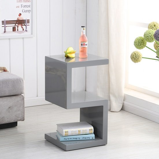 Miami side table in grey high gloss with s shape design - High gloss living room furniture uk ...