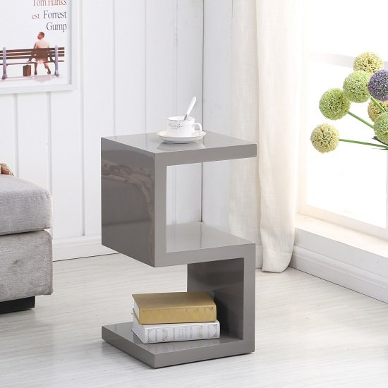 Photo of Miami side table in stone high gloss with s shape design