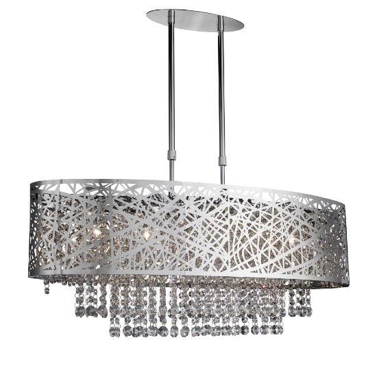 Mica 5 Light Ceiling In Chrome With Crystal Button Drops