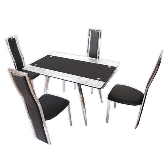 Marina Black Extendable Dining Table with 4 Dining Chairs