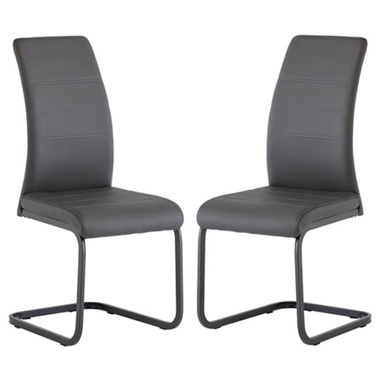 Michigan Grey Leather Dining Chair In A Pair