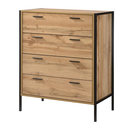Michigan Wooden Chest Of Drawers In Oak With 4 Drawers