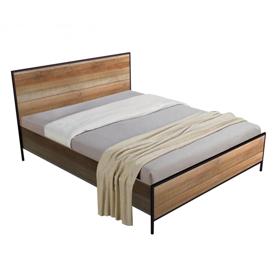 View Michigan wooden double bed in oak effect