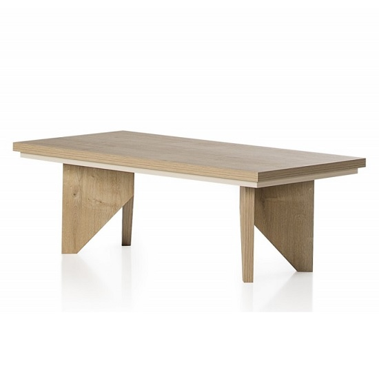 Michigan Wooden Coffee Table Rectangular In Oak And Cream