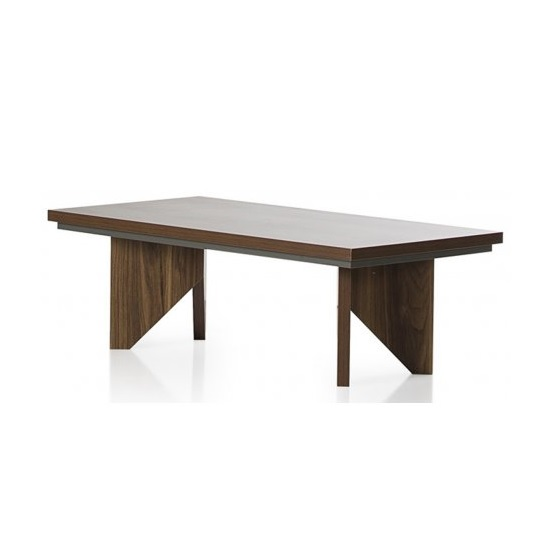 Michigan Wooden Coffee Table Rectangular In Walnut And Grey
