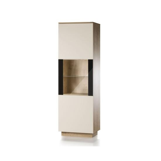 Michigan Glass Door Display Cabinet In Cream And Oak With LED