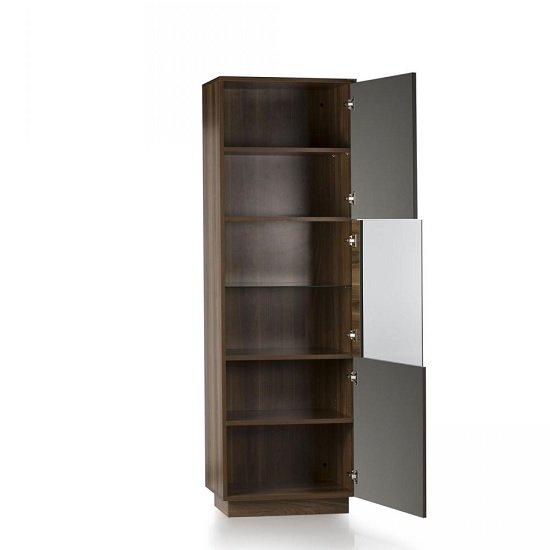 Michigan Glass Door Display Cabinet In Walnut And Grey With LED_2