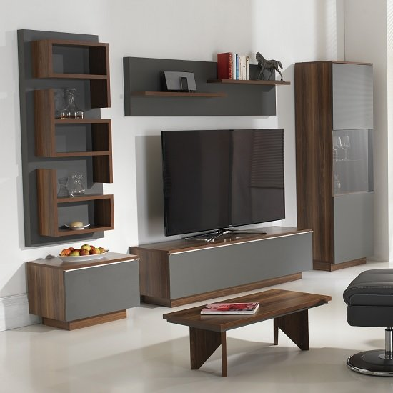 Michigan living room set in walnut and grey with led for Living room furniture sets michigan