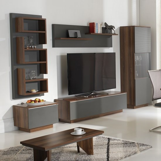Michigan living room set in walnut and grey with led for Wg r living room sets