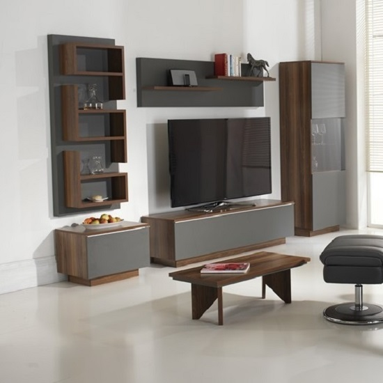 Storage Furniture Living Room: Michigan Wall Mounted Display Shelf In Walnut And Grey