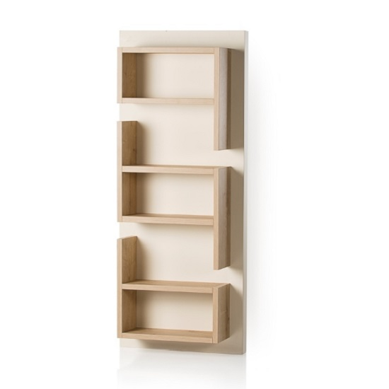 Michigan Wall Mounted Shelving Unit In Cream And Oak