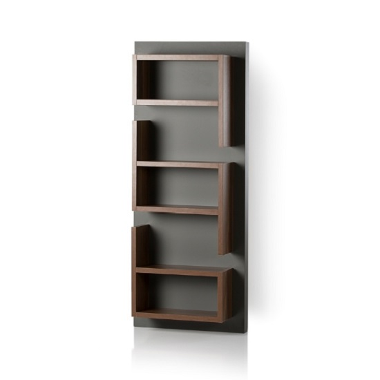 michigan wall mounted shelving unit in walnut and grey. Black Bedroom Furniture Sets. Home Design Ideas