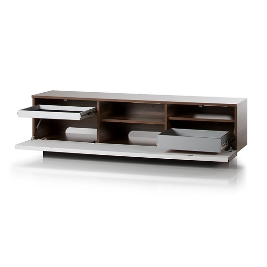 Michigan Wooden TV Stand In Walnut Grey With Flap Door_3